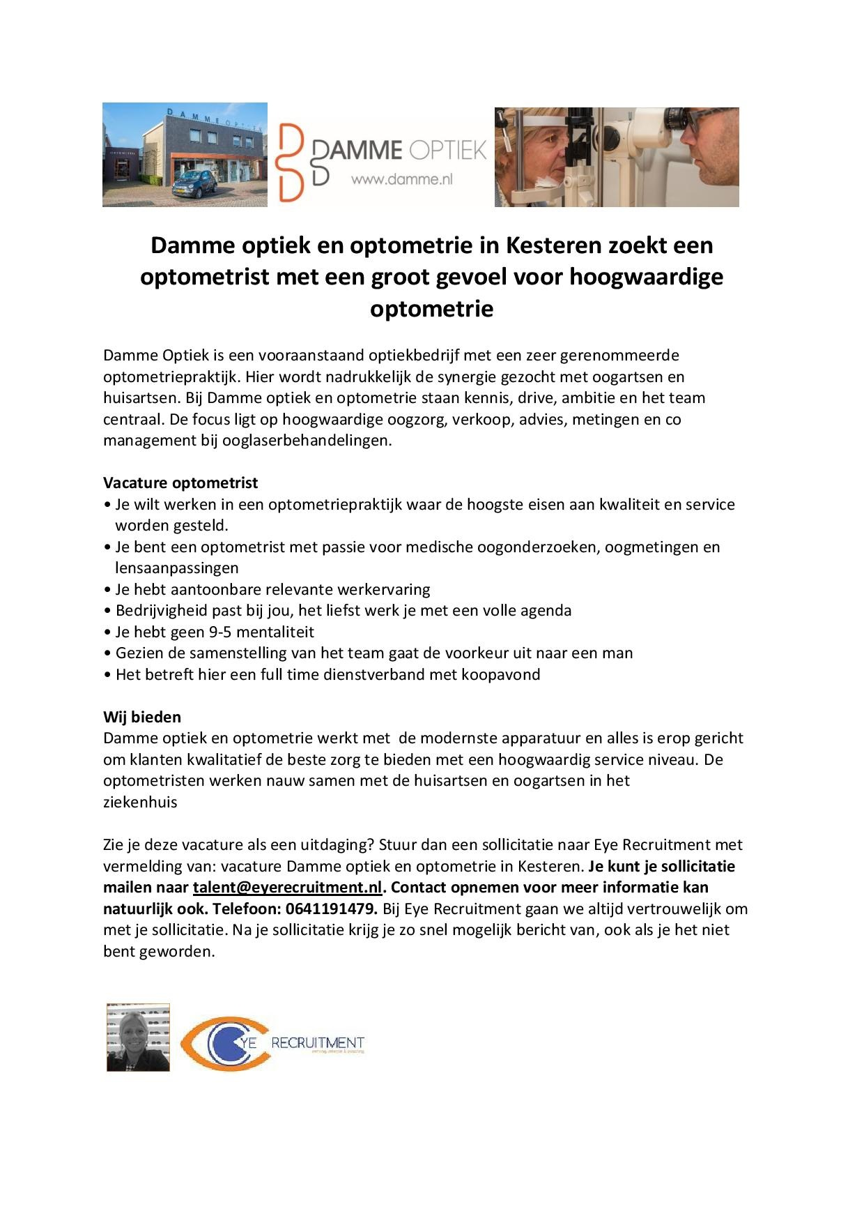 Advertentie tekst vacature Damme Optiek optometrist-page-001