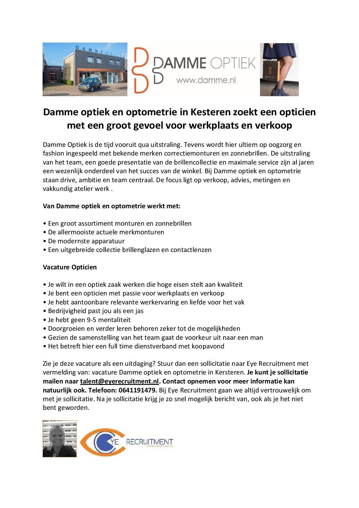 Advertentie tekst vacature Damme Optiek-page-001 (2) nieuwe