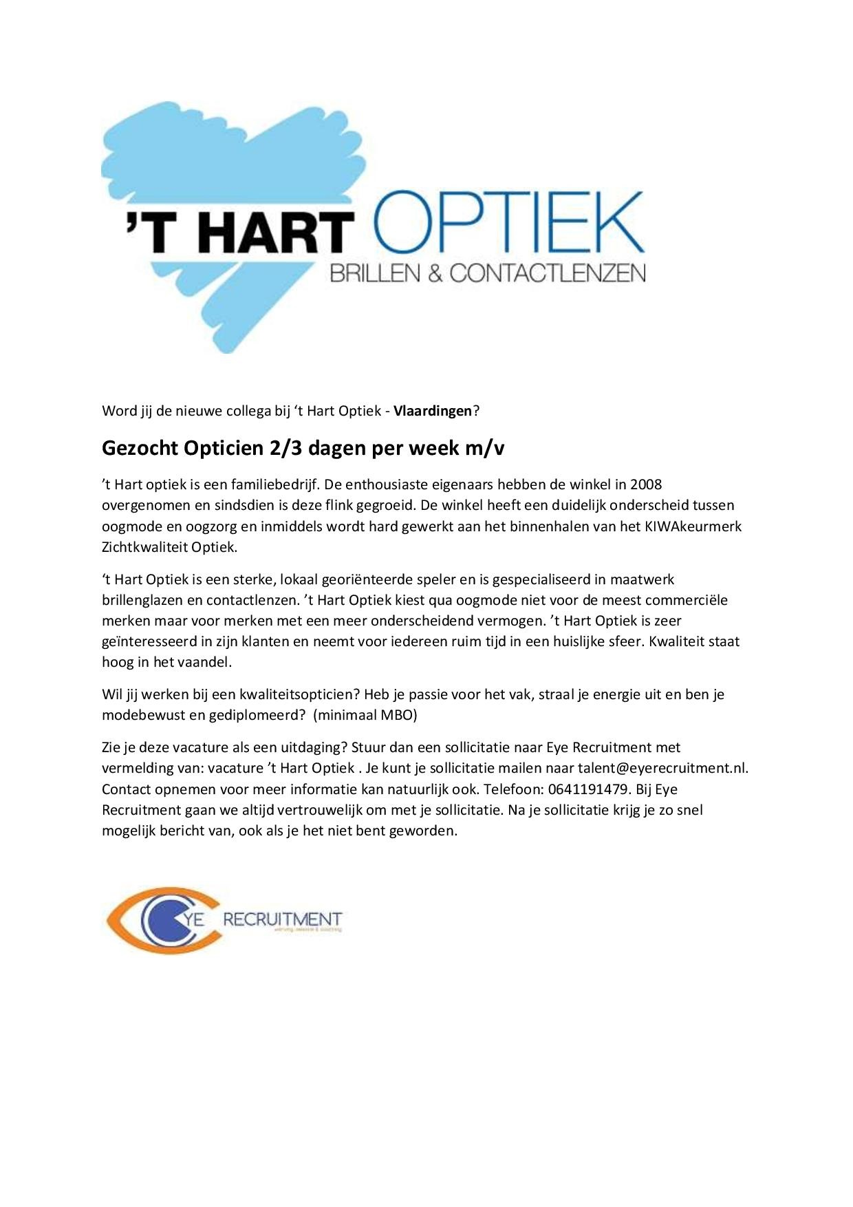 Advertentietekst opticien 'T Hart