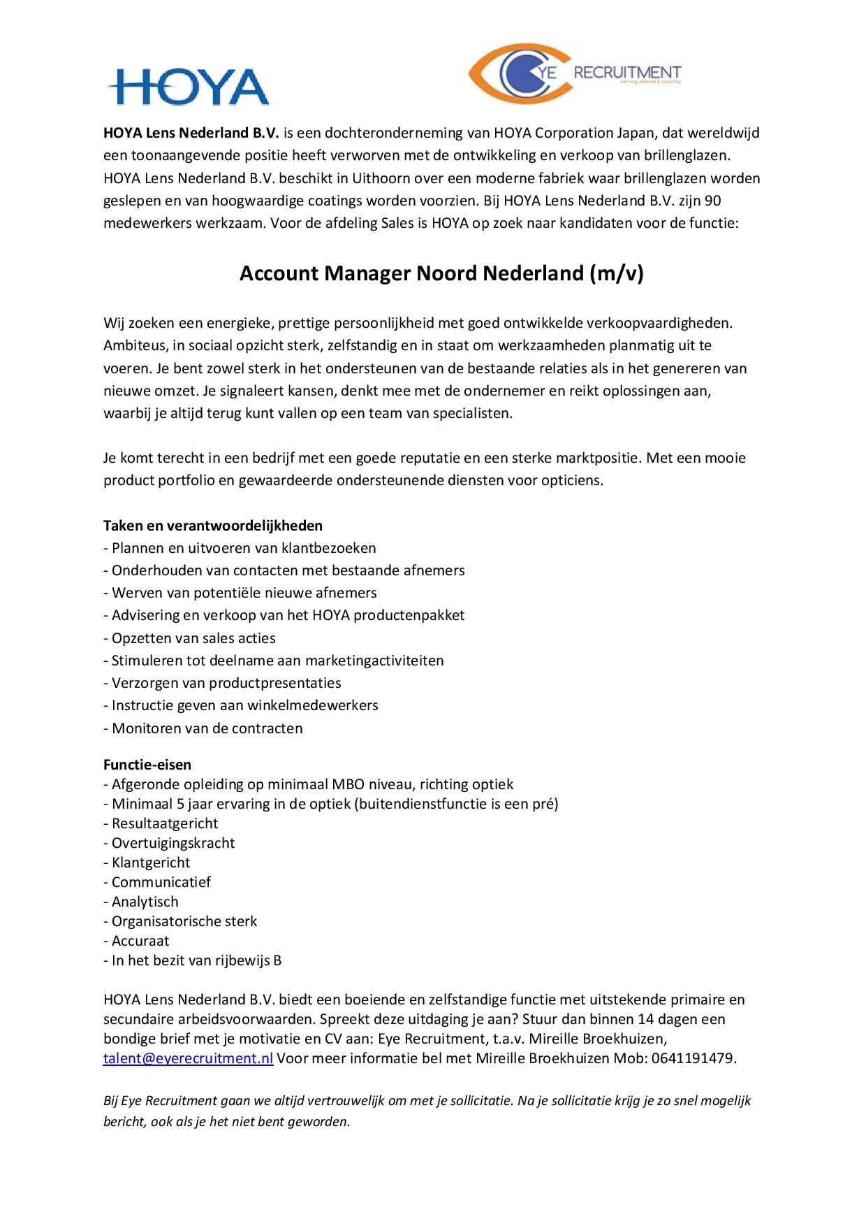 Hoya vacature Account Manager regio Noord-page-001
