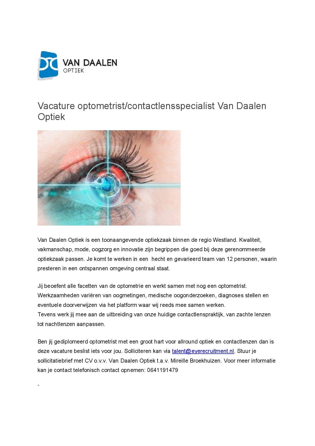 Vacature optometrist van Daalen