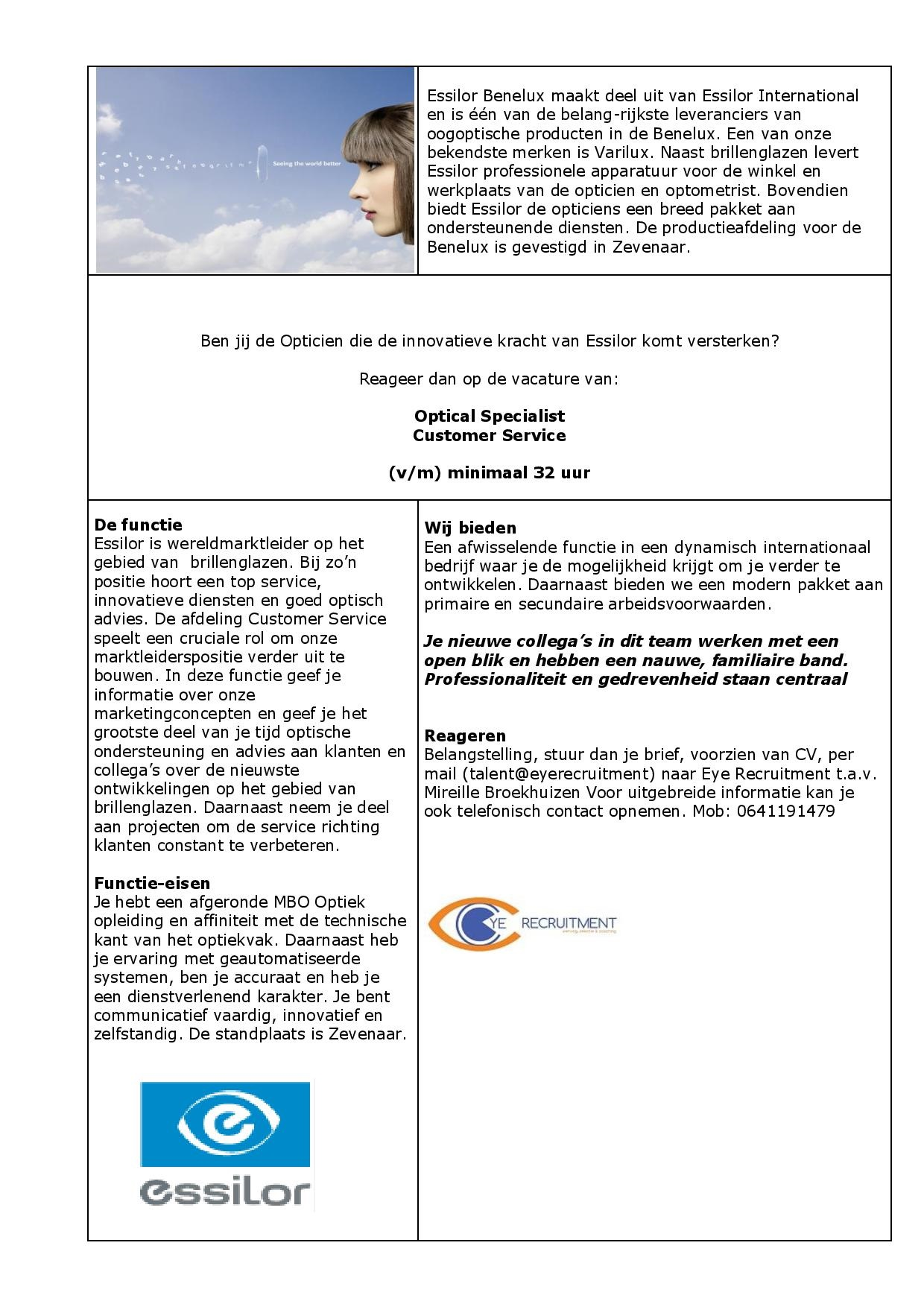 vacature Essilor Optical Support-page-001