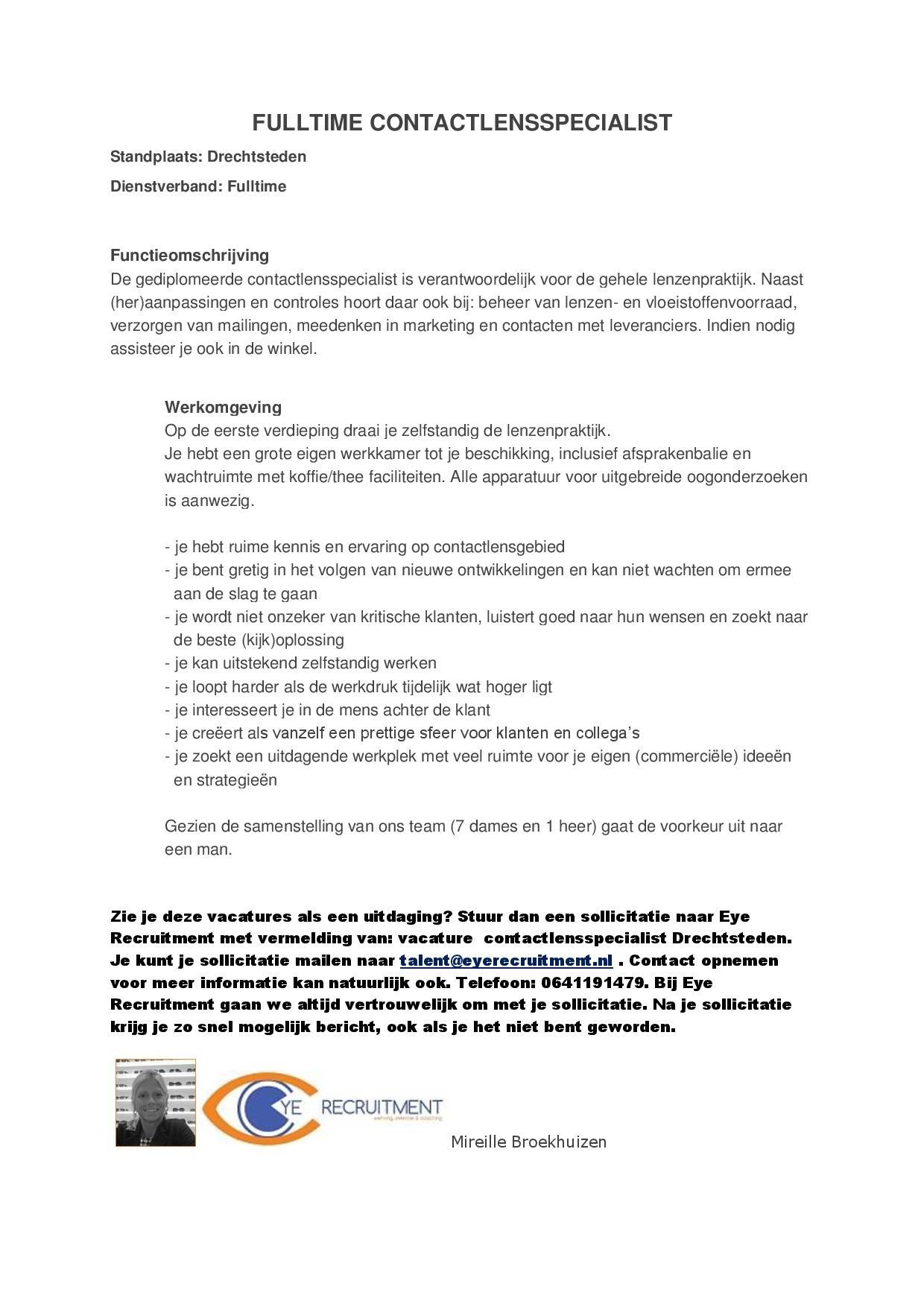 vacature Struijck contactlensspecialist
