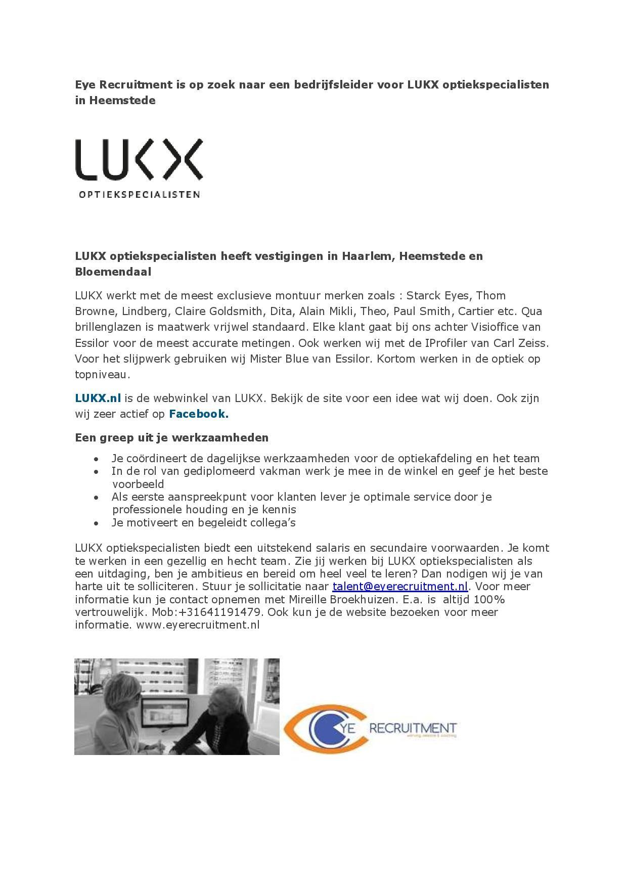 vacature bedrijfsleider LUKX