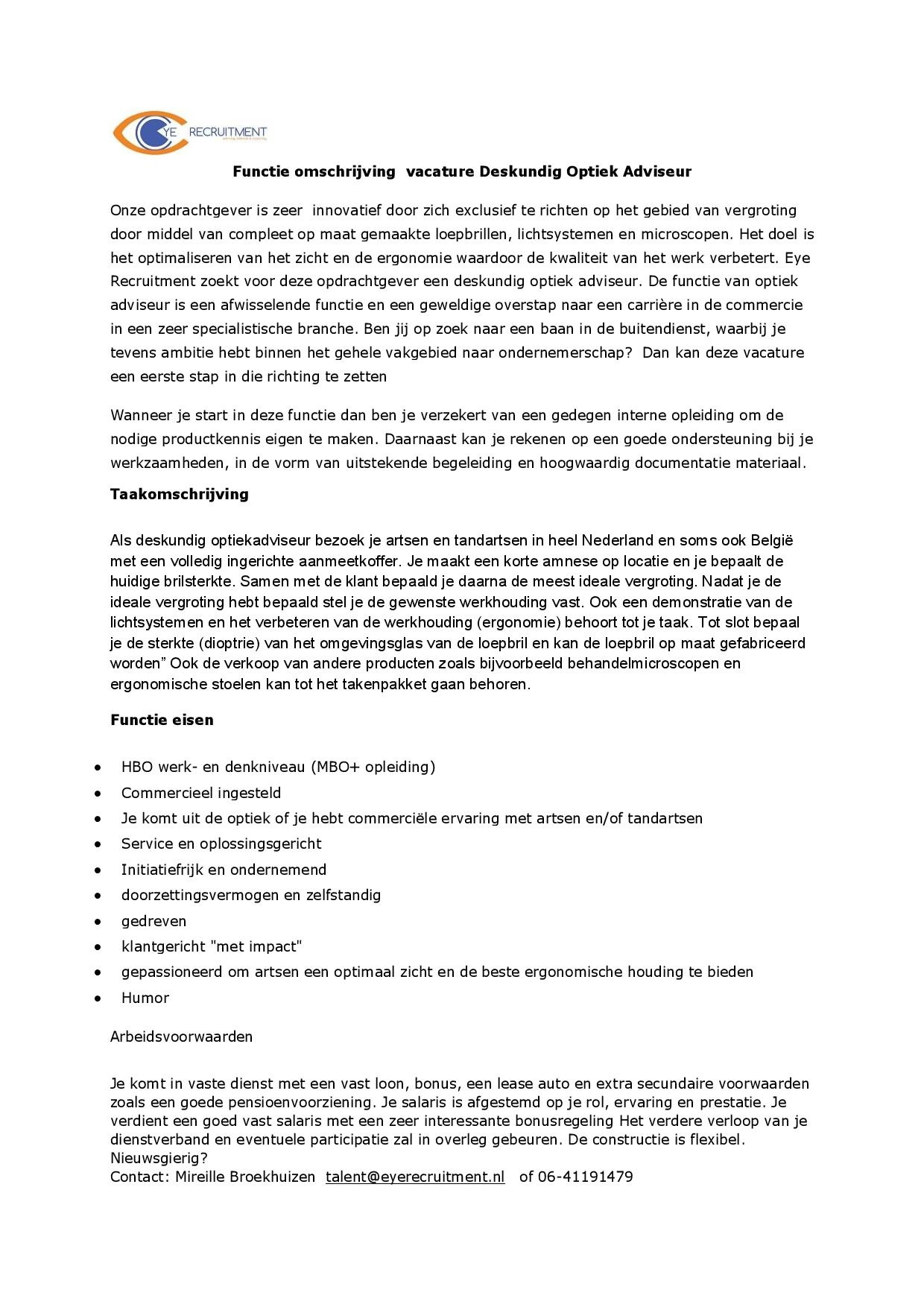 vacature optiek advisieur- exam vision