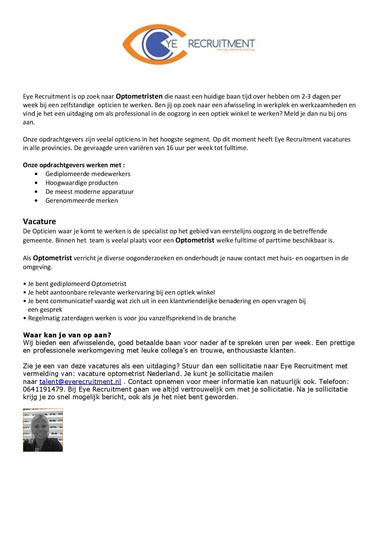 vacature optometrist heel nederland